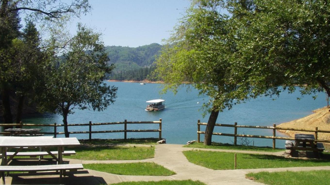 East side landing and picnic area. – Lake Shasta Caverns