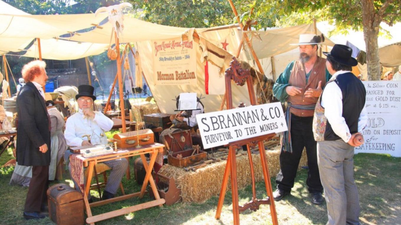 "Sam Branan, Gold Rush entrepreneur and hustler; enacted at Old Sacramento's Day Labor ""Gold Rush Festival"". – Ray Anderson"
