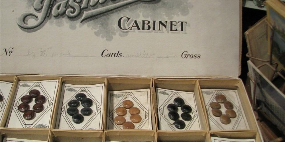 Vintage buttons on original cards grace one part of the shop. – Karrie Lindsay