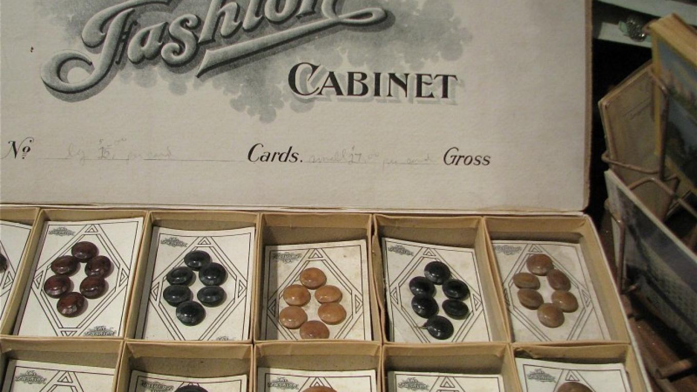 Vintage buttons on original cards grace one part of the shop. – Karrie Lindsay