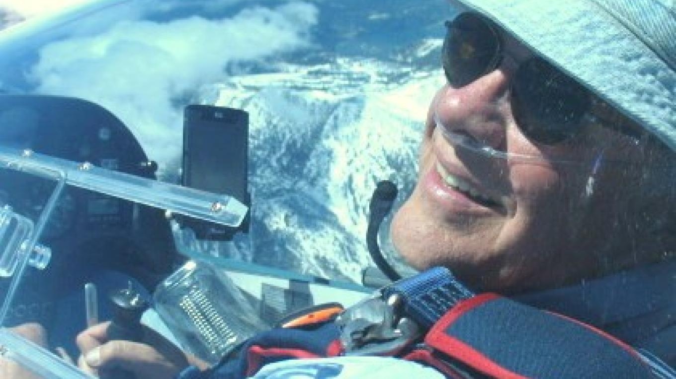 Glider pilot enjoying the mountain wave three miles above Minden, NV – Gordon Boettger