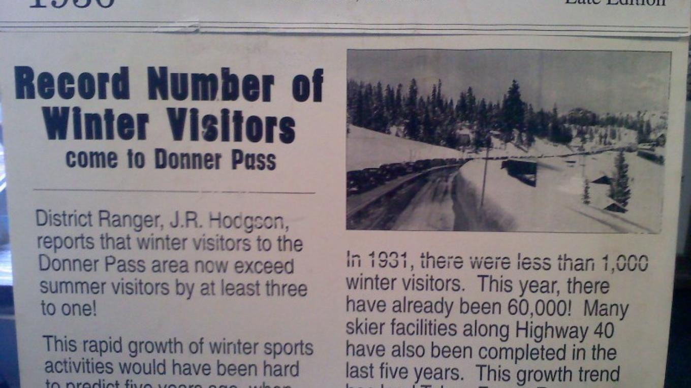 1936 Newspaper re: Donner Summit