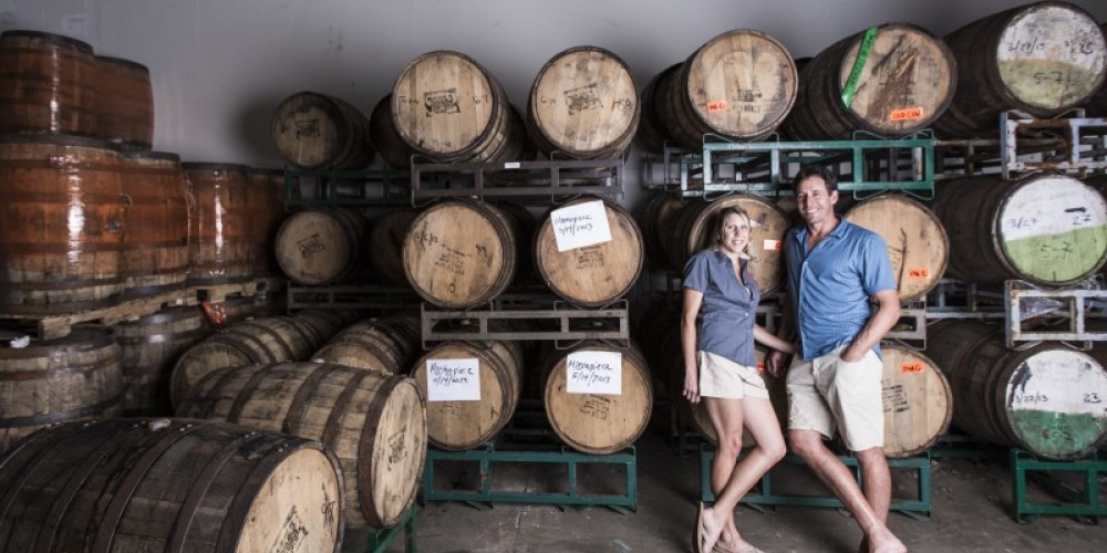 """Owners Andy & Alicia Barr in the """"Barrel Room"""". – Jamie Kingham"""