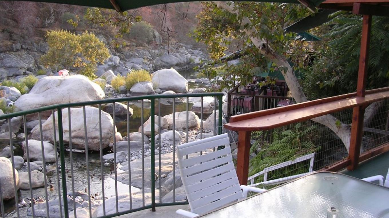 Our River House patio with view of Kaweah River. – Glenn McIntyre
