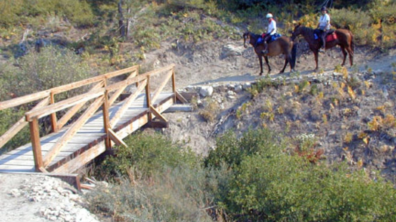 Equestrians crossing the Quinn Bridge.