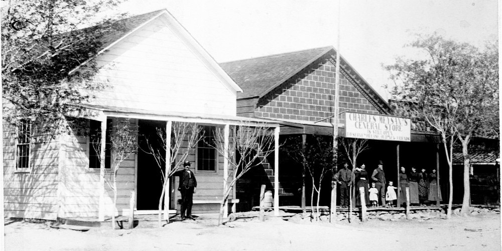 Meysan Store in Lone Pine circa 1875 with family and townspeople out front. This is now the La Florista Store.