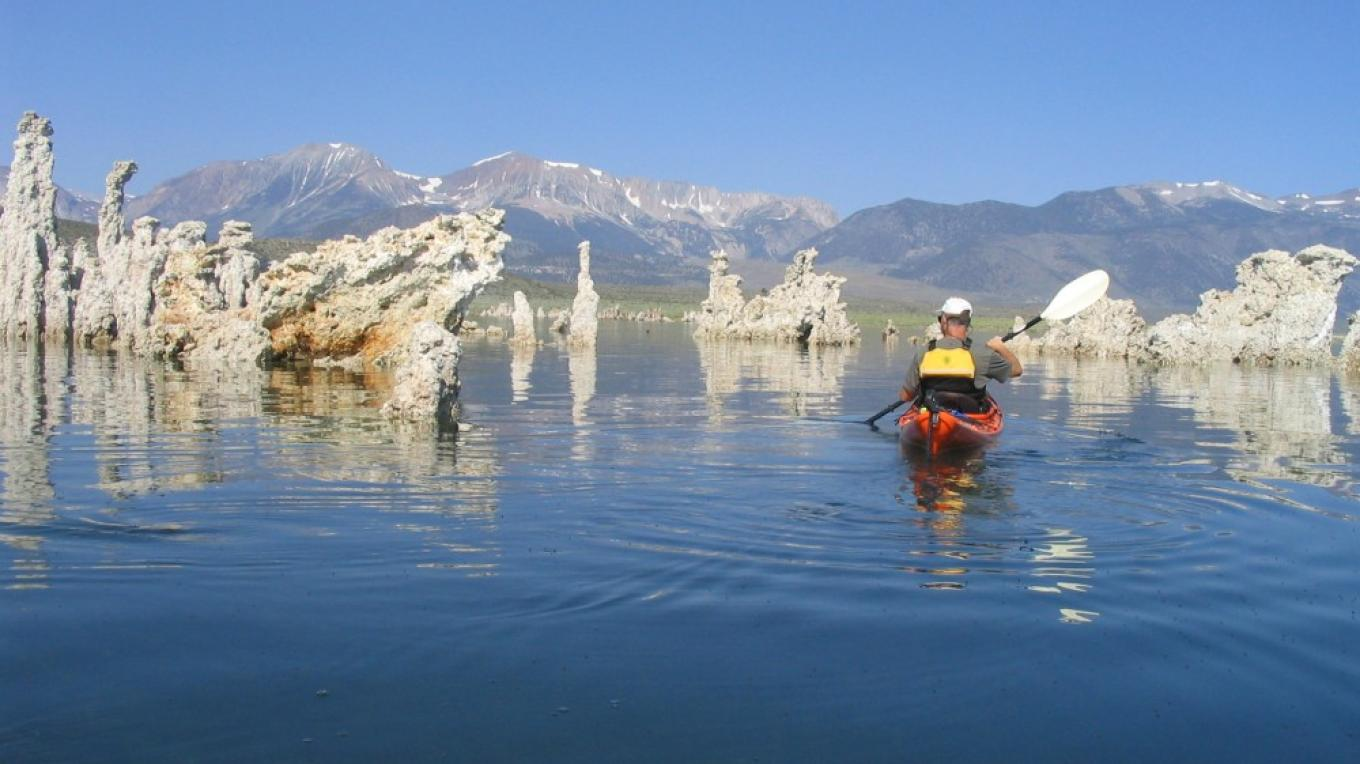 kayaker and tufa towers – Stuart Wilkinson
