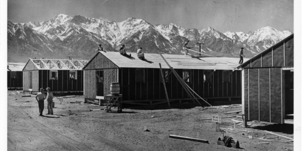 The barracks at Manzanar were constructed quickly and would eventually house about 10,000 Japanese-American internees.
