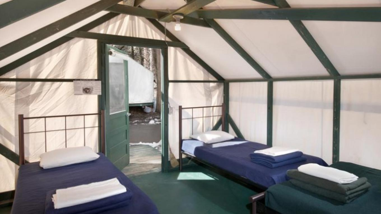 Interior of a Canvas Tent Cabin