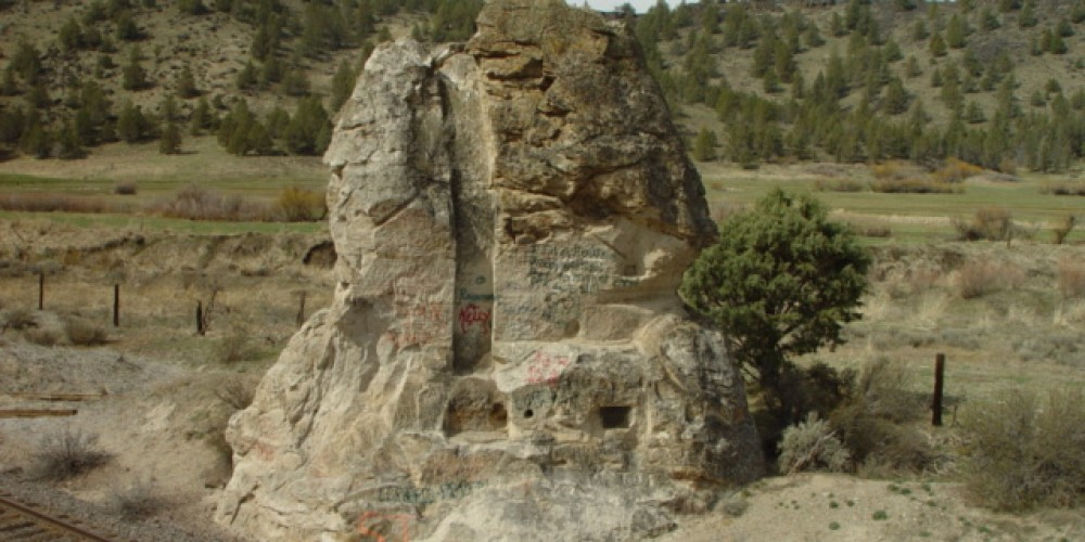 Chimney Rock still shows where the chimney was carved by Thomas Denson in 1871. – Jean Bilodeaux