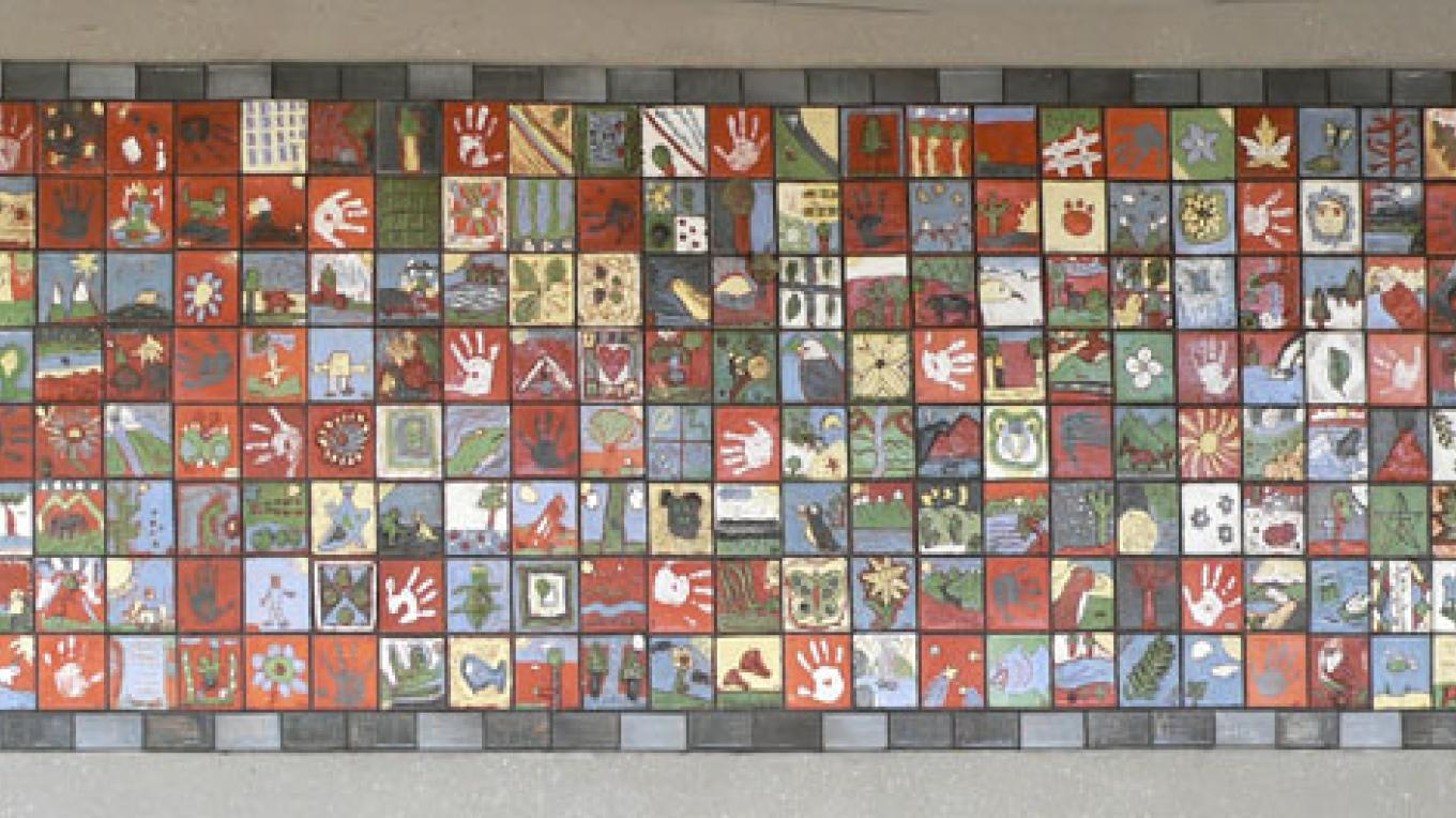 Ceramic Tiles Mosaic. Master artists Dyann Graber and Andy Duncan. Located at Three Rivers Union School. – Nadi Spencer