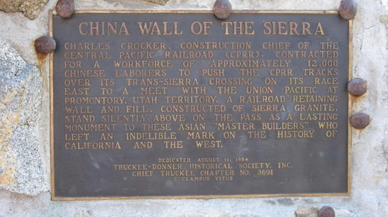 China Wall of the Sierra Plaque, Central Pacific Railroad, Donner Summit, Old U.S. 40 – Linda Chaplin
