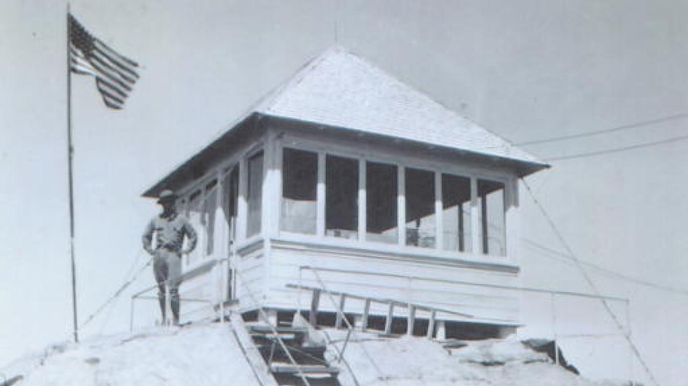 Buck Rock fire watcher Buck McGee circa 1925 – Sequoia National Forest archives