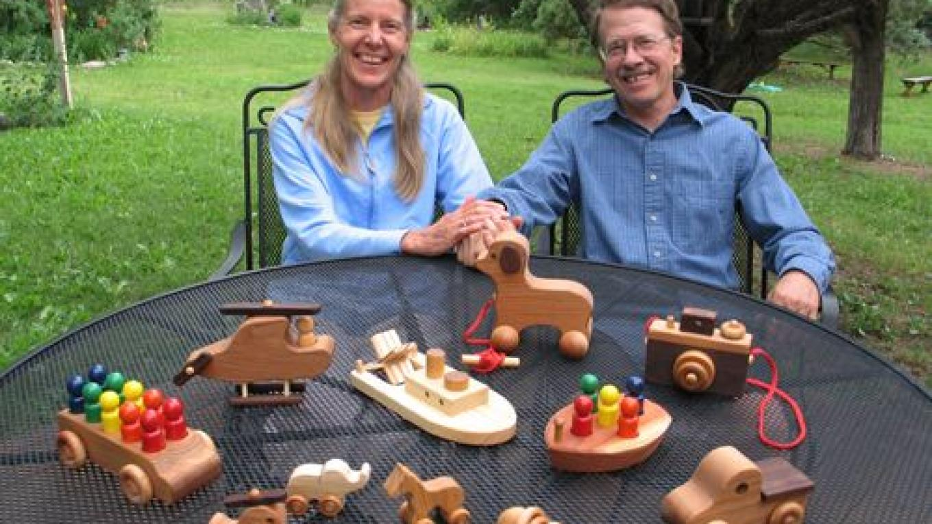 Tim and Connie Long with some of the toys they make at North Star Toys – Tim Long