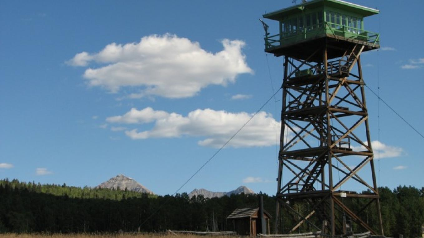 Jersey Jim fire tower, decommissioned by the Forest Service, can be seen along a beautiful mountain drive just northeast of Mancos – Rebecca Brunk