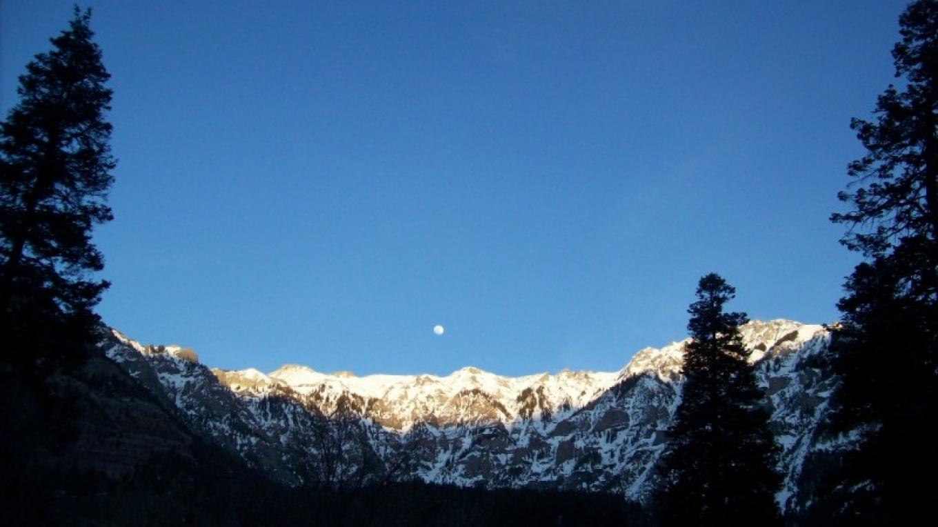 Moon rise, looking east from the Victorian Inn – Ouray Victorian Inn