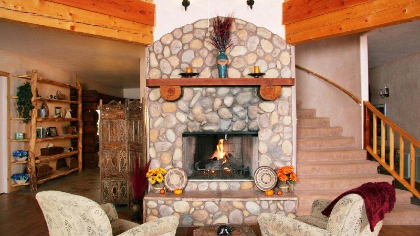 Fire place in main lodge – Meira Leonard
