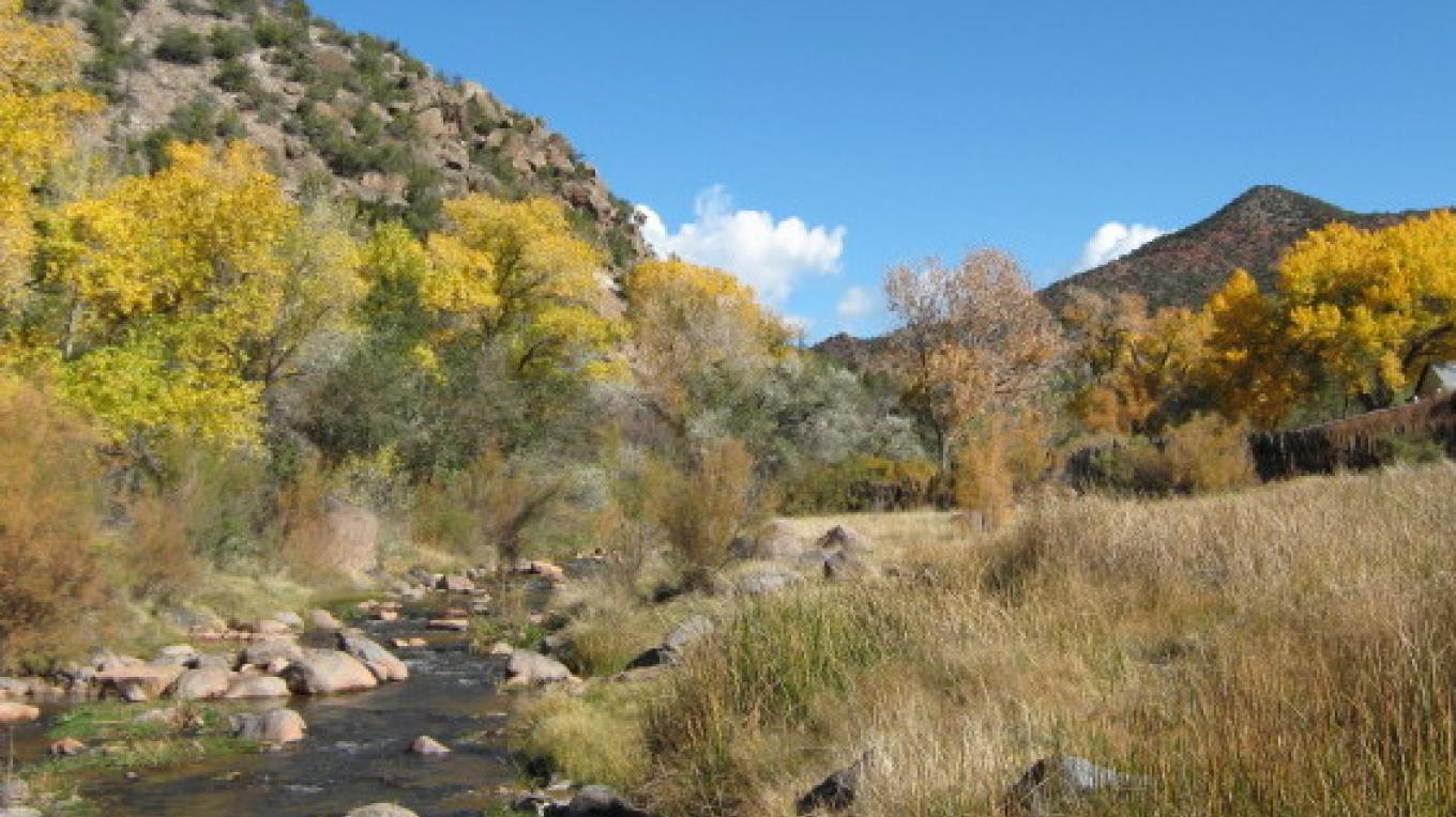 The Bath House is located in the Village Plaza along side of the Jemez River. – Talty Robinson