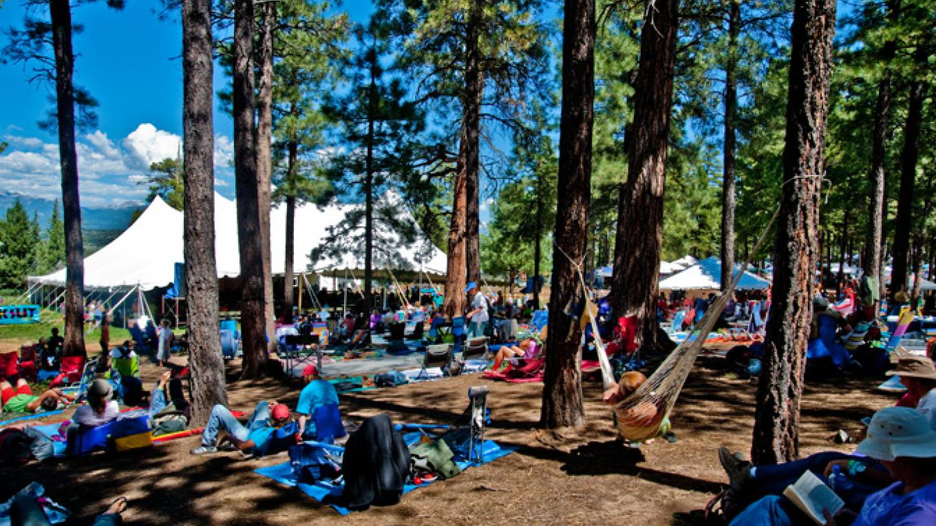 The festival sits among the lovely ponderosa pines. – Mike Pierce