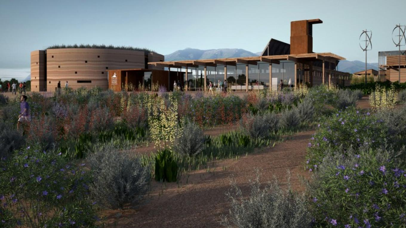Conceptual artist's rendering of main Discovery Center building. – Four Corners School
