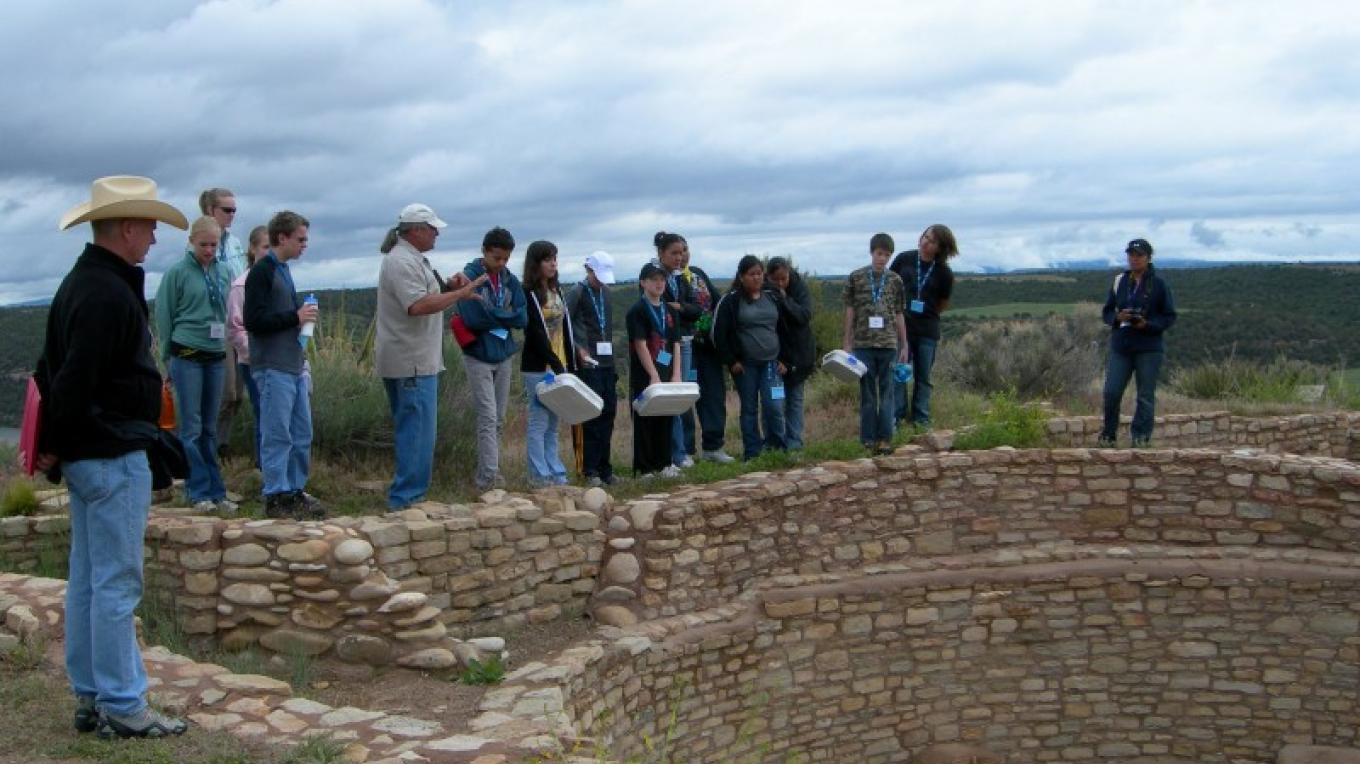 Museum educators lead student programs at 12th century Escalante Pueblo on the grounds of the Anasazi Heritage Center – Bureau of Land Management Anasazi Heritage Center