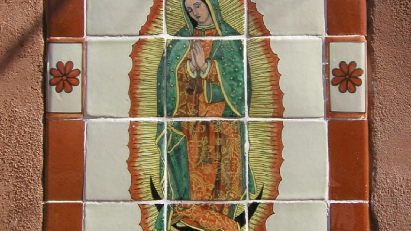 Lady of Guadalupe tiles at entrance – Huberto Maestas