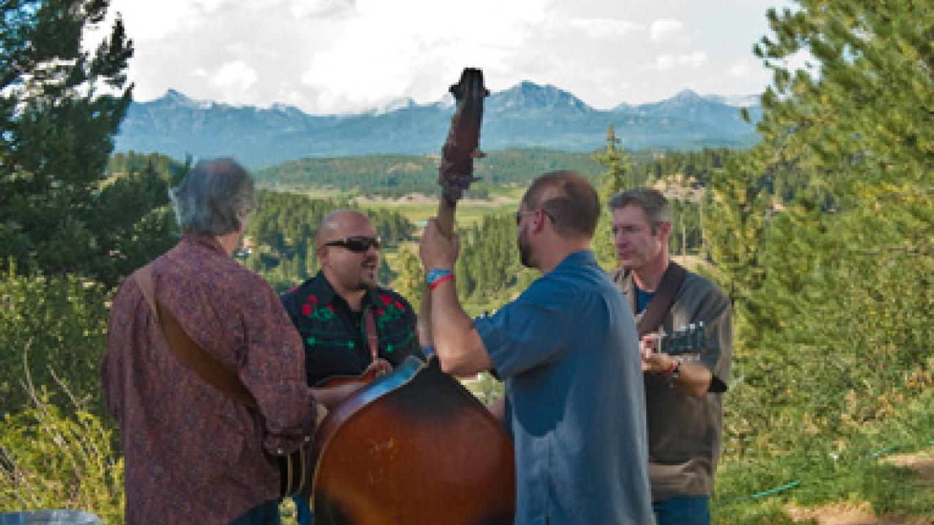 Musicians warm up in the scenic backstage area – Mike Pierce