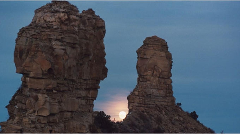 Moonrise at Chimney Rock during Major Lunar Standstill – Helen Richardson