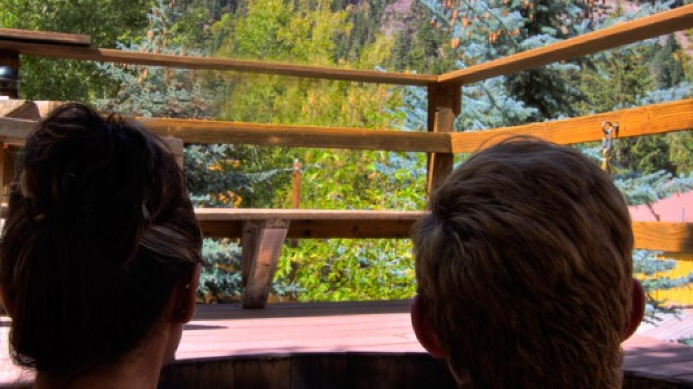 Soaking in Natural Hot Springs onsite – Kane Scheidigger