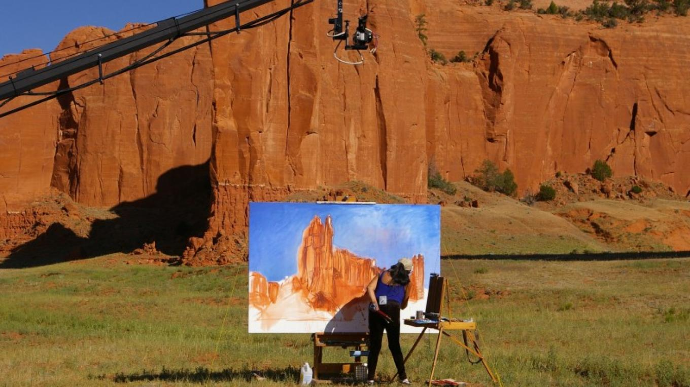 On the set of A Return Home - B. Emerson Kitsman works on a monumental painting – Bill Soza