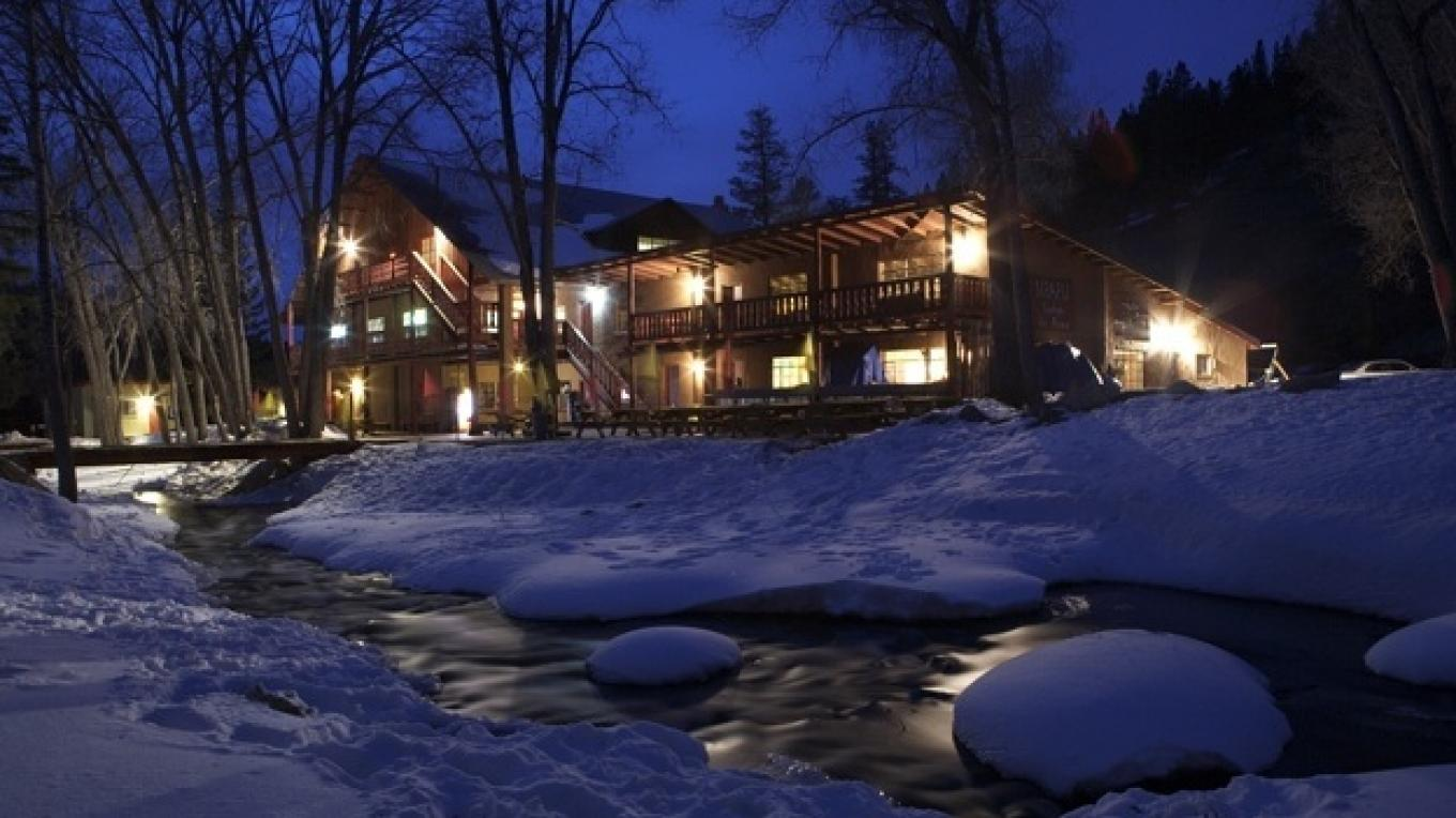Sipapu's historic lodge, located just steps from the Rio Pueblo. – Sipapu Ski and Summer Resort