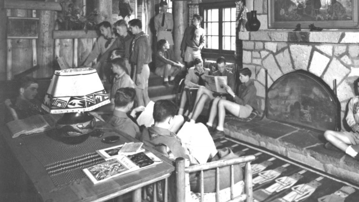 Boys from the Los Alamos Ranch School in the ante room of Fuller Lodge – From the Los Alamos Historical Museum Archives