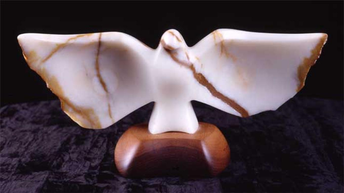 Guardian Angel, a sculpture in Death Valley onyx by Kathy Park – Kathy Park