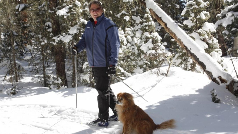 Ski area owner Geoff Goins with Jenna on the dog trails – Ellen Miller-Goins