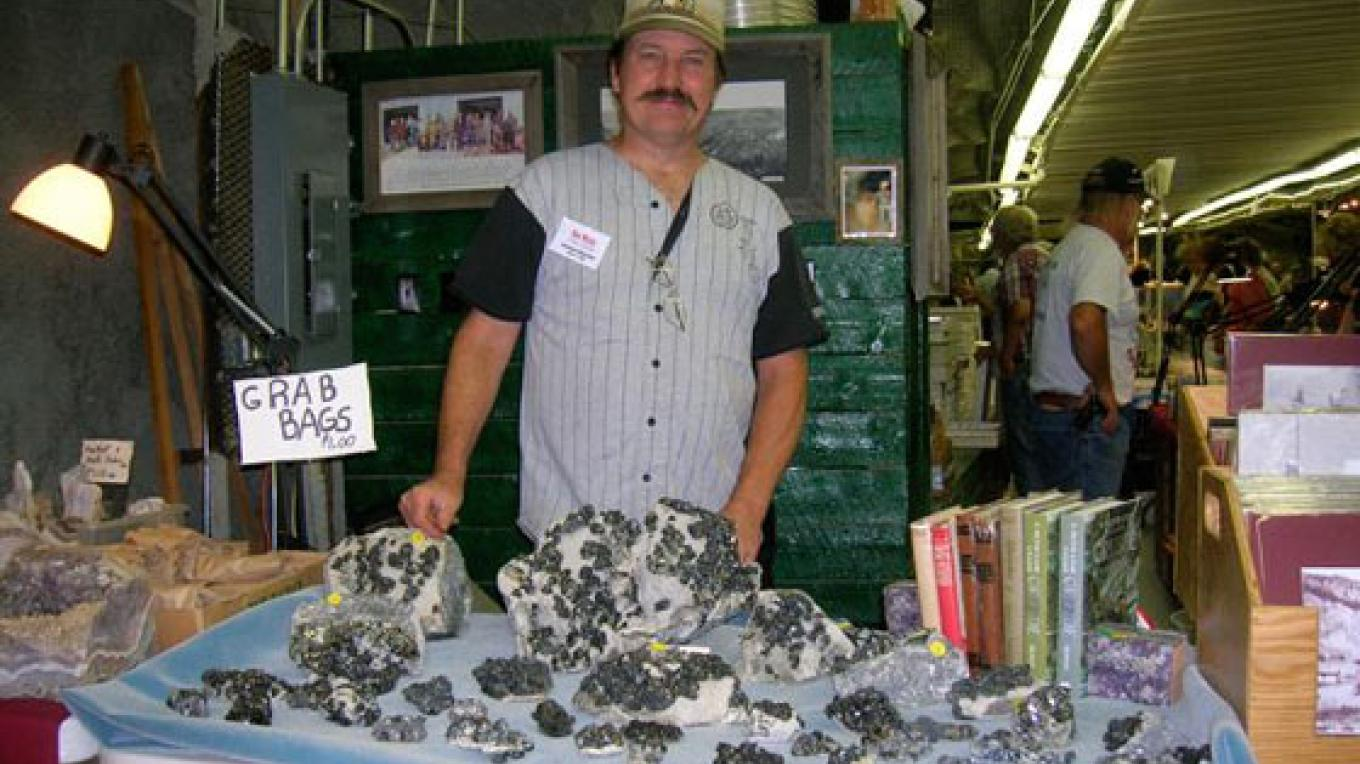 Local rockhound and mining historian Ken Wyley shows his wares at the event. – Kara Brittain