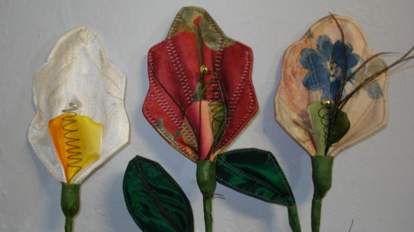 Three fabric Flowers
