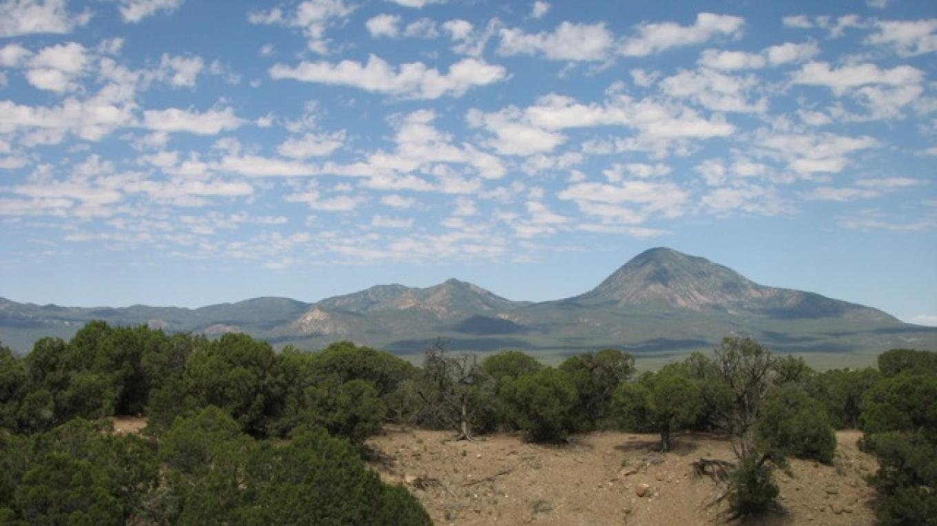 View of the Sleeping Ute mountain from the canal – Rebecca Brunk