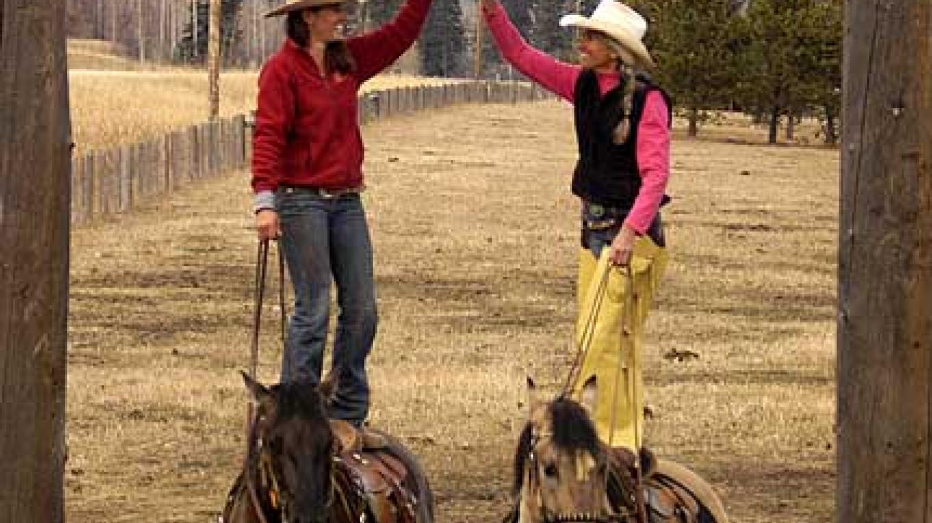 Ems and Anne Rapp on their four year colts. – Claude Steelman