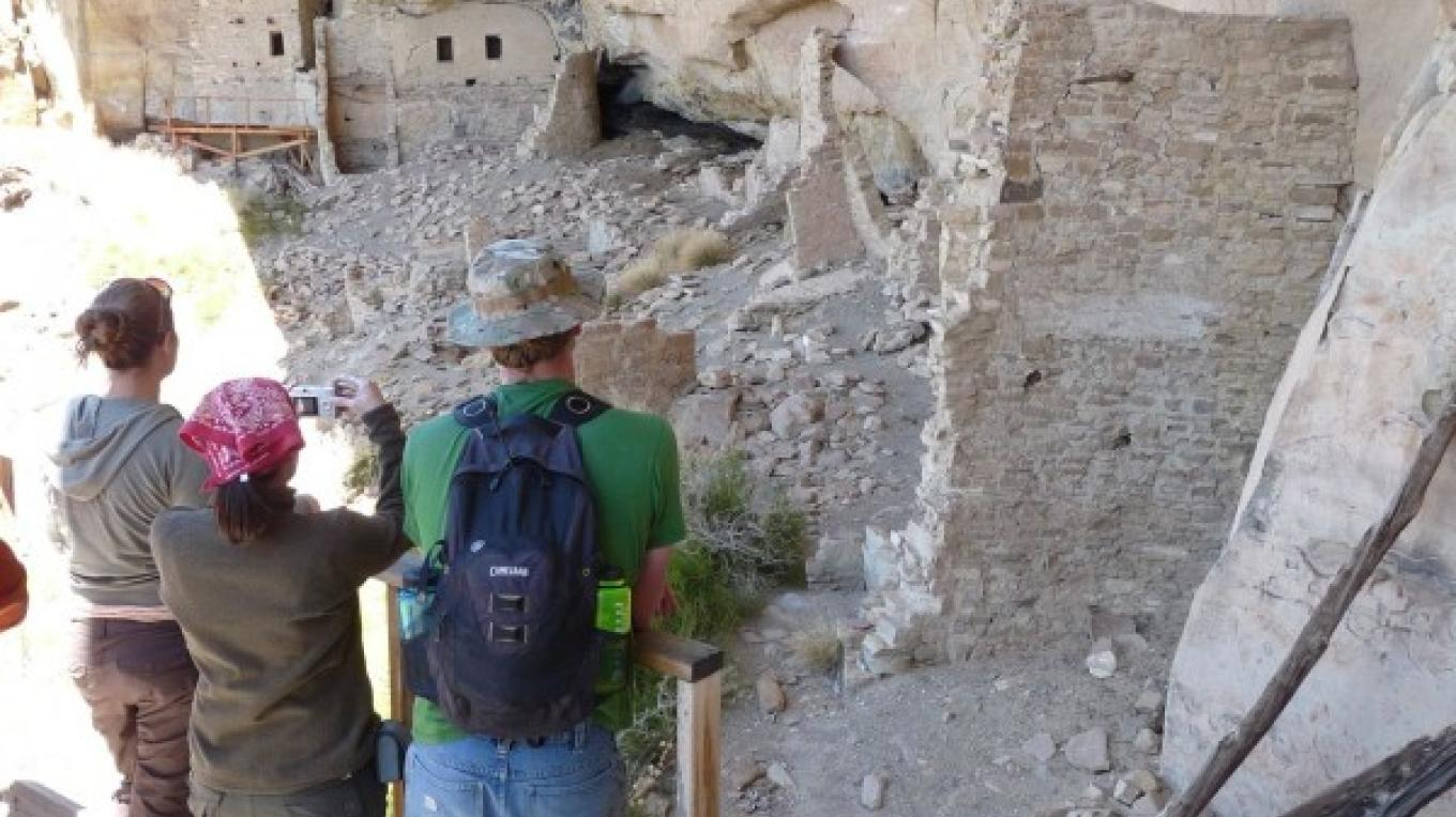 Spring House at Mesa Verde National Park. This destination is a strenuous half-day's hike into the backcountry and can only be accessed with a uniformed park ranger on a Mesa Verde Institute hike. – Courtesy of the National Park Service