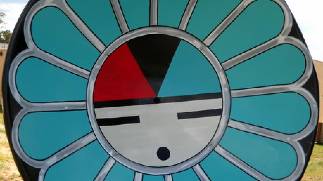 Hand-Painted Satellite Dish, Zuni Sunface