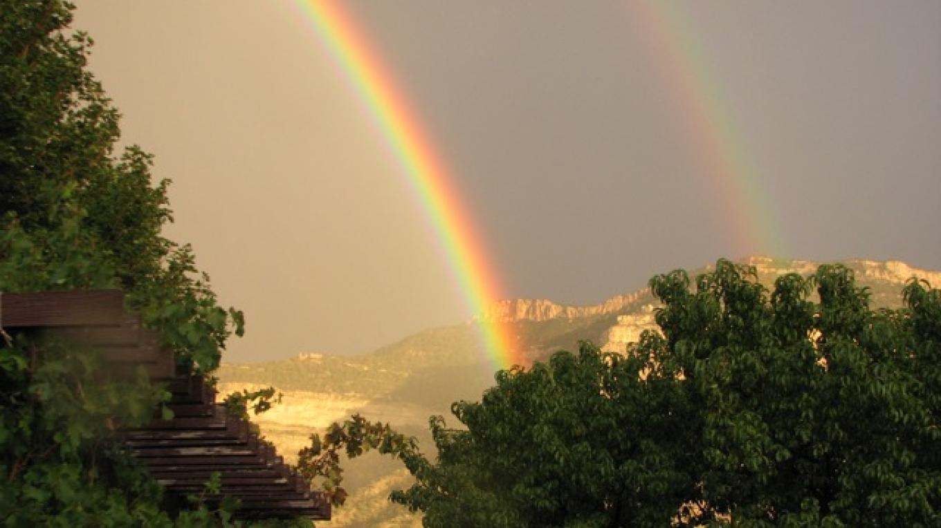 Double rainbow in front of the mesa, late summer; there is no end to the magnificence of our area! – Rebecca Brunk