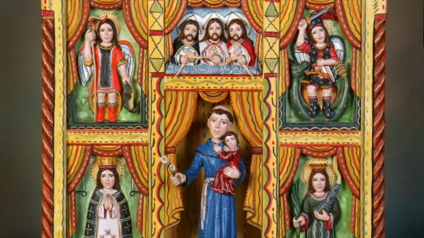 San Antonio Altar Screen, Hand Carved and Painted Wood