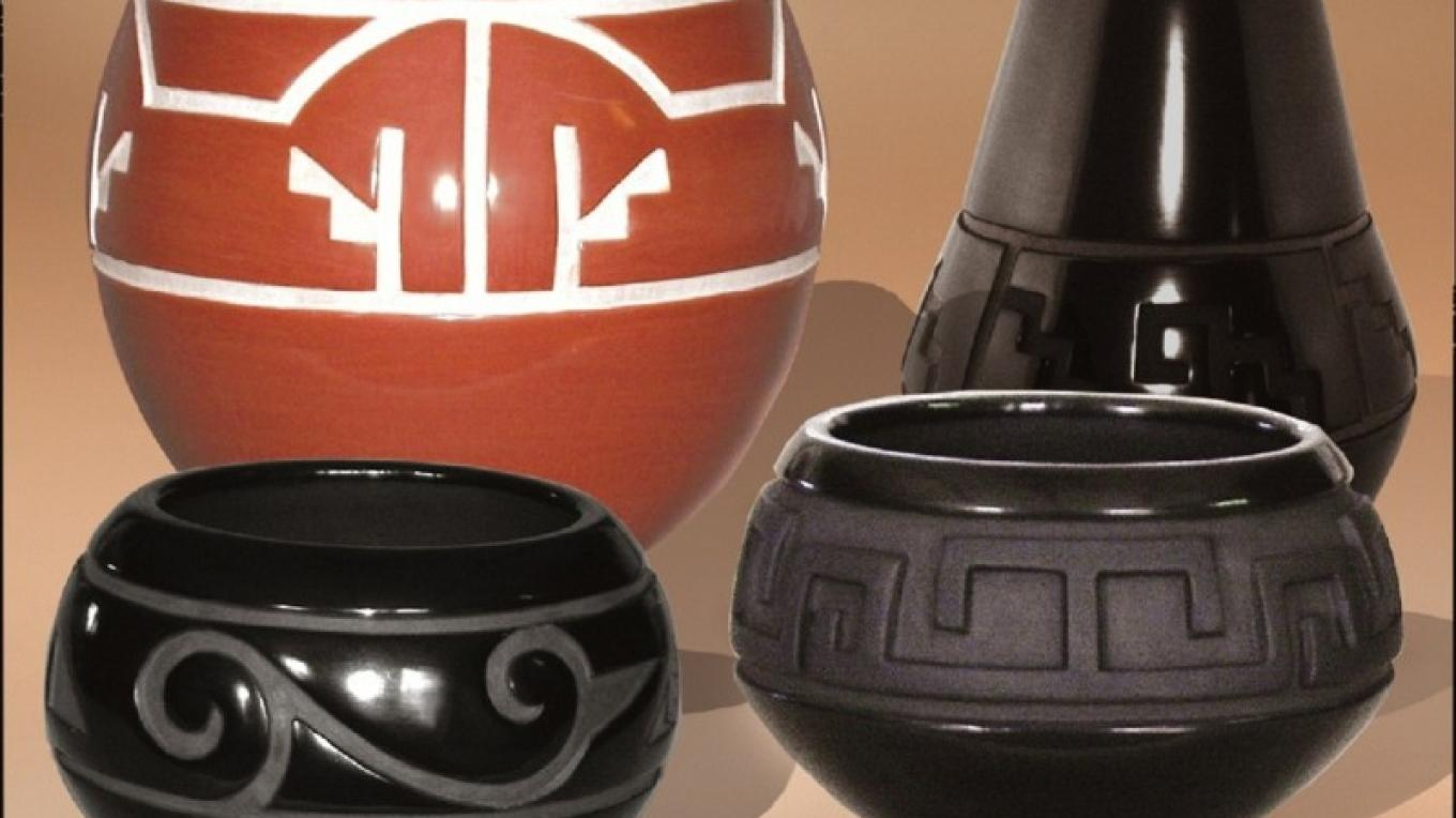 Red and black pottery in the traditional Santa Clara style. – Daryl Whitegeese