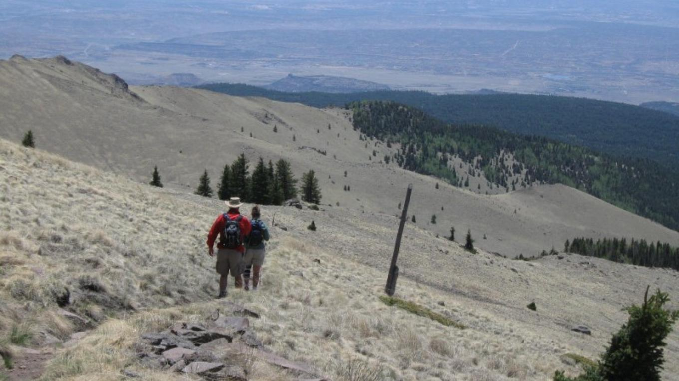 Switchbacking down off the summit to southwest. – SO