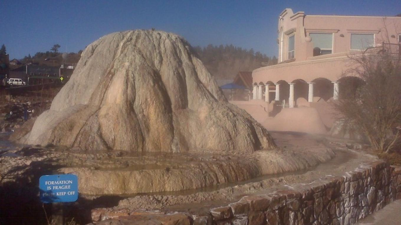 Hot Springs Mineral Mineral formation at The Springs Resort and Spa.  Minerals have been building since the 1990's. – The Springs Resort