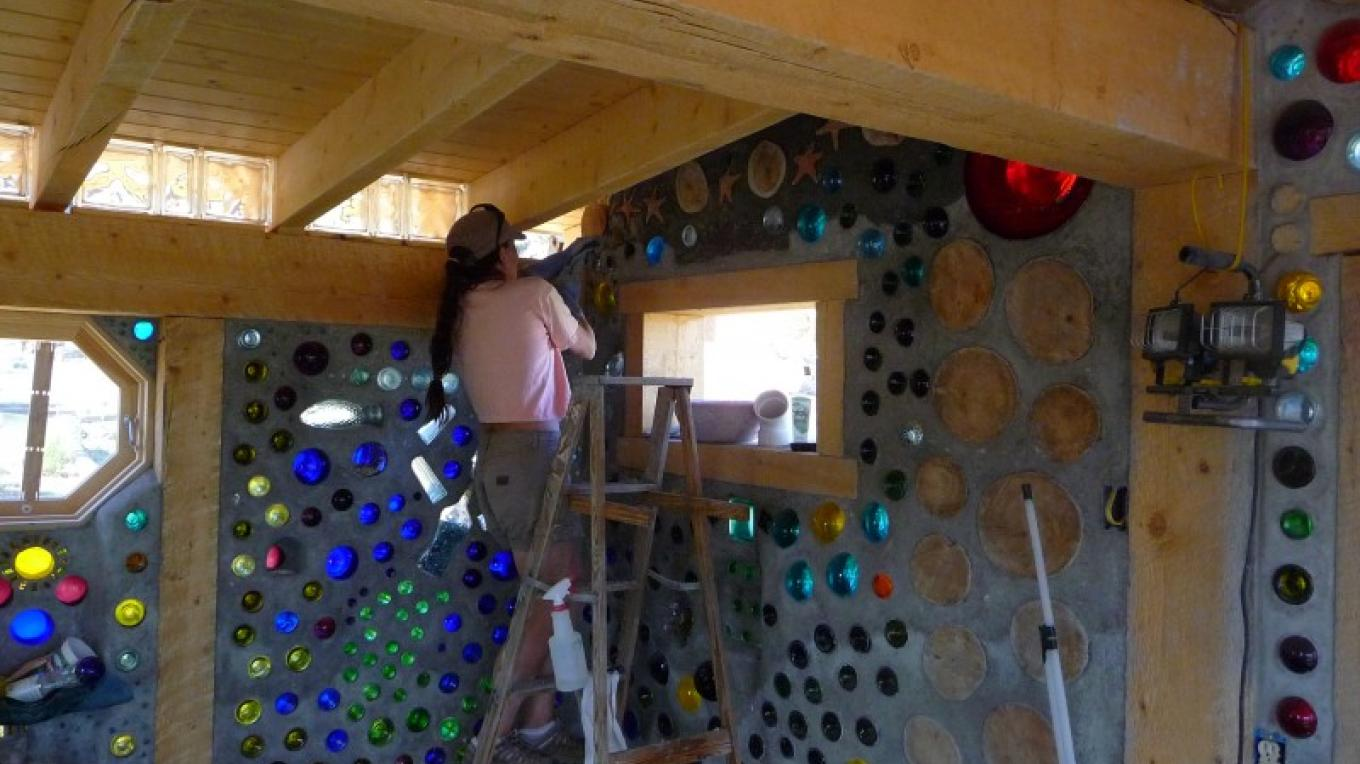"KimAnna putting in the final wall of ""The Mermaid Cottage"" – KimAnna Cellura-Shields"