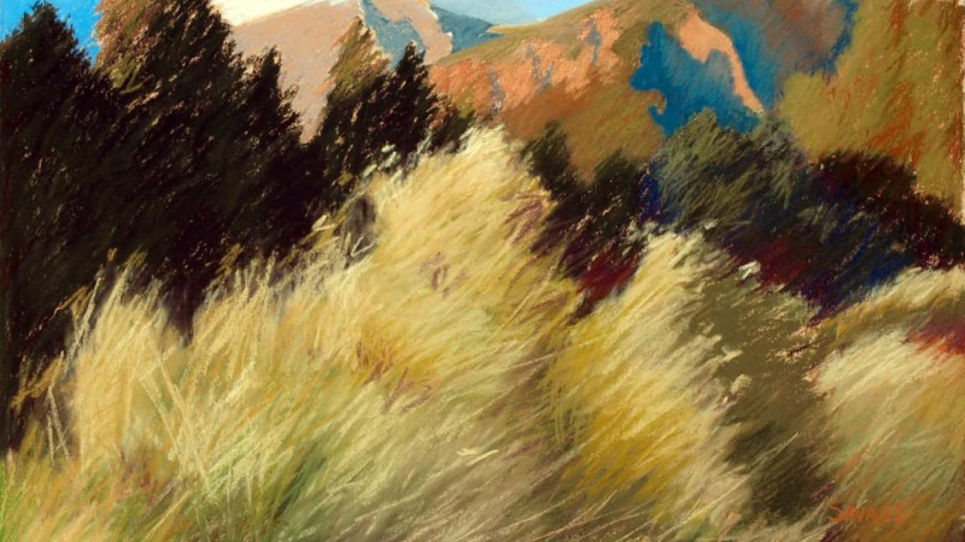 Spanish Creek, Sangre de Cristos, oil  pastels, 21x27 by Emmy Savage – images provided by artist