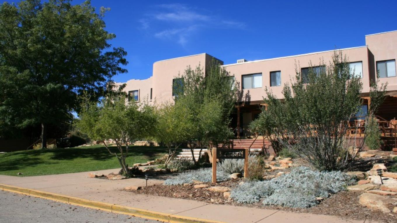 The Crow Canyon lodge, which contains the dining hall, offices, and a small lounge.