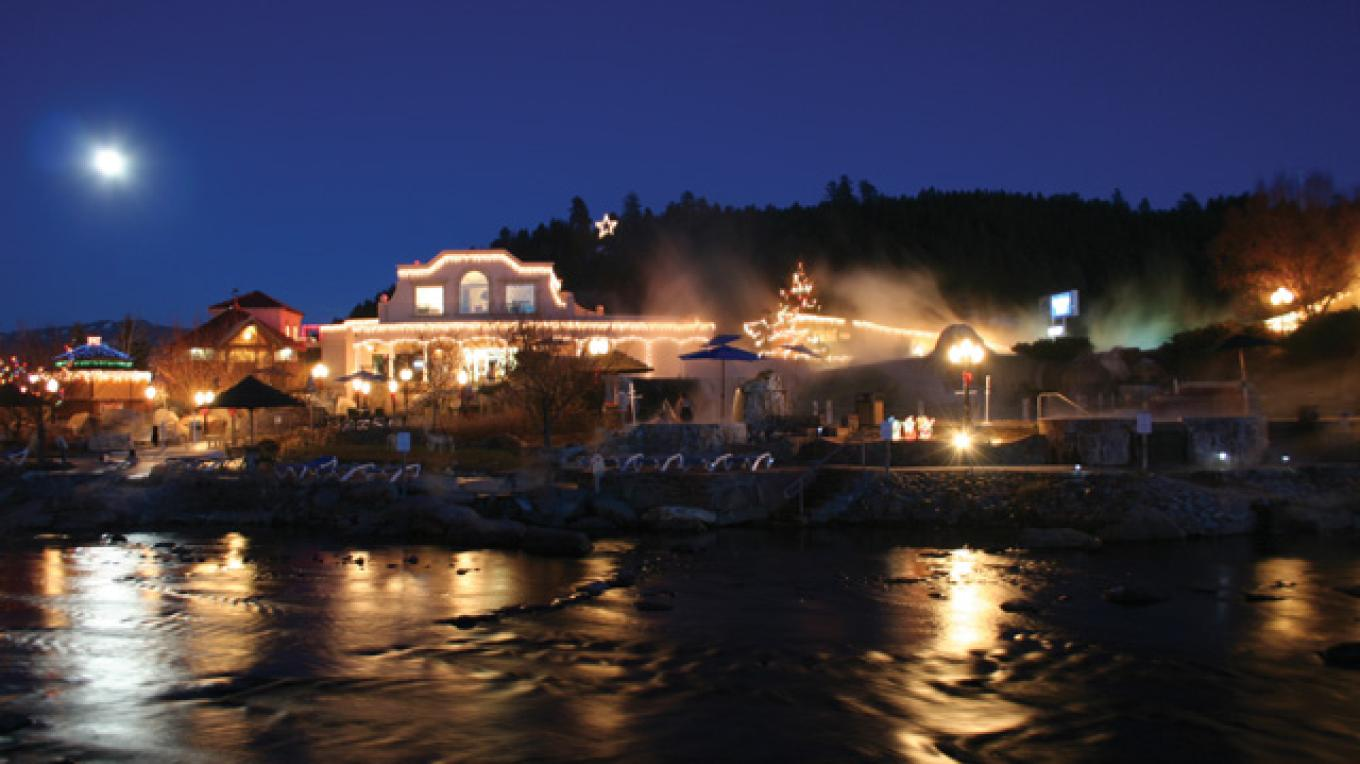 Soaking in the moonlight at The Springs Resort and Spa, surrounded by the Rockies. – The Springs Resort