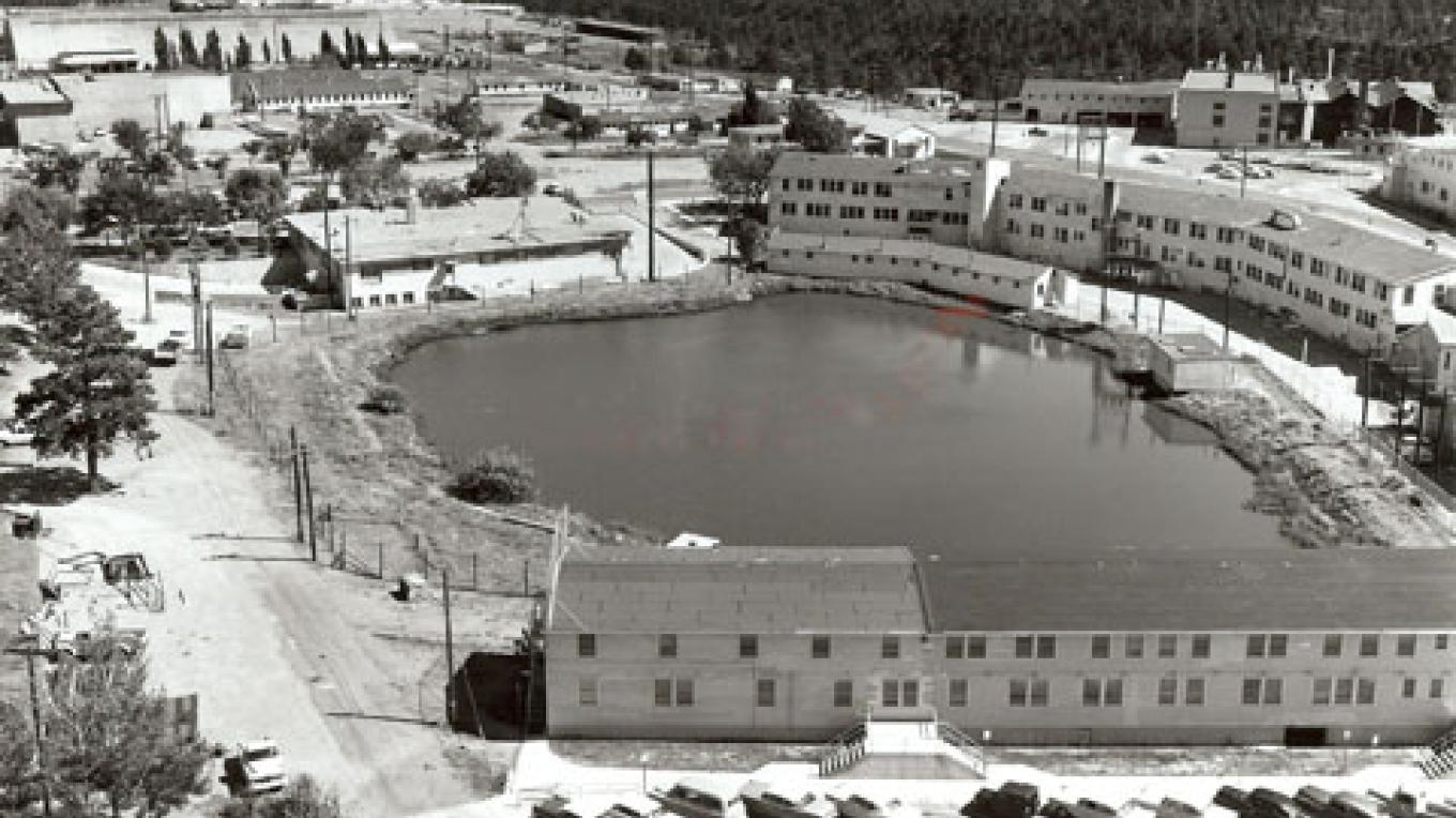 The top-secret laboratory for the Manhattan Project, which developed the world's first atomic bombs, was built around Ashley Pond. – From the Los Alamos Historical Museum Archives